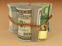 Dollar, euro, ruble on lock Royalty Free Stock Images