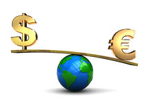 Dollar and euro on scale. 3d illustration of dollar and euro signs on earh globe scale Stock Photography