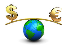 Dollar and euro on scale. 3d illustration of dollar and euro signs on scale Stock Image