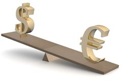 Dollar and euro on scales. Royalty Free Stock Image