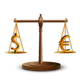 Dollar and euro on scales Royalty Free Stock Image