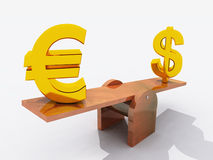 Dollar and Euro on seesaw. Fluctuations in the relative values of major currencies – golden Dollar and Euro symbols on polished wooden seesaw Stock Images