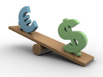 Dollar and euro seesaw. Abstract 3d illustration of dollar and euro seesaw, european crisis concept Stock Photo