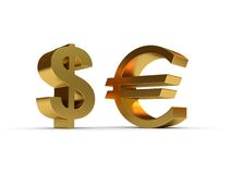 Dollar and euro sign Royalty Free Stock Photo