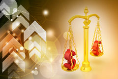 Dollar and euro sign balancing the scale. In color background Stock Image