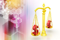 Dollar and euro sign balancing the scale. In color background Stock Images