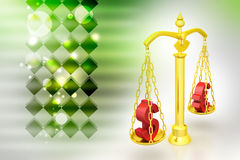 Dollar and euro sign balancing the scale. In color background Royalty Free Stock Image