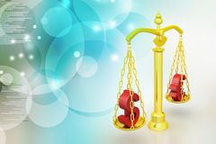 Dollar and euro sign balancing the scale. In color background Stock Photography