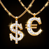 Dollar and euro sign jewelry necklace on golden chain Royalty Free Stock Image