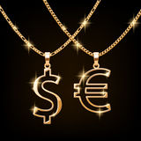 Dollar and euro sign jewelry necklace on golden chain Royalty Free Stock Photos