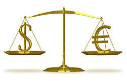 Dollar and euro sign on scales Royalty Free Stock Photos