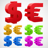 Dollar Euro signs isolated on white. Stock Photo