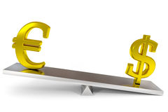 Dollar and euro signs on a scales. Stock Image