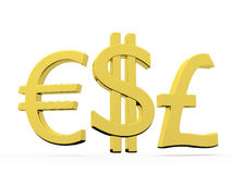 Dollar, euro and sterling Stock Photos