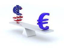 Dollar euro swing. 3d illustration vector illustration