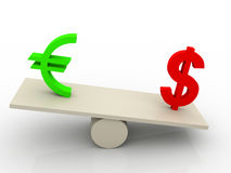 Dollar euro swing 3d illustration Stock Image