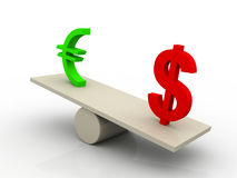 Dollar euro swing 3d illustration Stock Photography