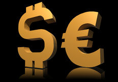Dollar and euro symbol Royalty Free Stock Images