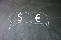 Dollar and euro symbol. On blackboard Royalty Free Stock Photography