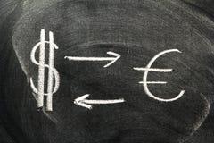 Dollar and Euro Symbol. On The Blackboard Royalty Free Stock Photos