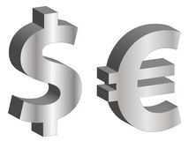 Dollar and Euro Symbols Stock Image