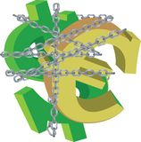 Dollar and euro symbols tied by a chain.  Stock Images