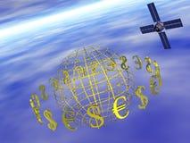 Dollar, Euro um Welt mit Satelliten. Lizenzfreie Stockbilder