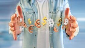 Dollar-, Euro- und Bitcoin-Zeichen, die um ein Netz connectio fliegen Stockbild