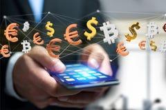 Dollar-, Euro- und Bitcoin-Zeichen, die um ein Netz connectio fliegen Stockfotos