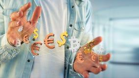 Dollar-, Euro- und Bitcoin-Zeichen, die um ein Netz connectio fliegen Lizenzfreie Stockfotos