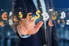 Dollar-, Euro- und Bitcoin-Zeichen, die um ein Netz connectio fliegen Stockfoto