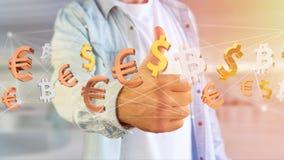 Dollar-, Euro- und Bitcoin-Zeichen, die um ein Netz connectio fliegen Stockfotografie