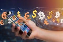 Dollar-, Euro- und Bitcoin-Zeichen, die um ein Netz connectio fliegen Lizenzfreies Stockfoto