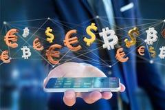 Dollar-, Euro- und Bitcoin-Zeichen, die um ein Netz connectio fliegen Lizenzfreies Stockbild