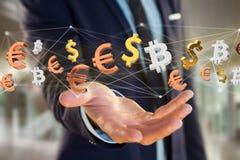 Dollar-, Euro- und Bitcoin-Zeichen, die um ein Netz connectio fliegen Stock Abbildung