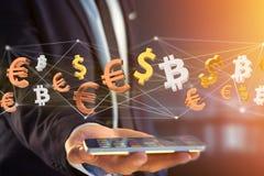 Dollar-, Euro- und Bitcoin-Zeichen, die um ein Netz connectio fliegen vektor abbildung