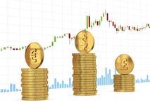 Dollar-, Euro- und Pfundspalten der Münze auf Kerzenhalter stellen Hintergrund grafisch dar Stockbild