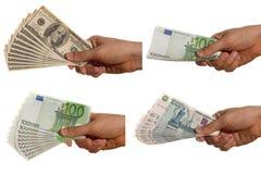 Dollar-, Euro- und Rubelrechnungen Stockfotos
