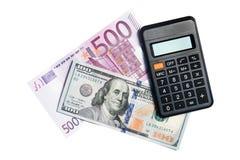 100 Dollar, Euro 500 und Taschenrechner Stockbilder
