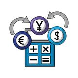 Dollar euro and yen business with calculator royalty free illustration