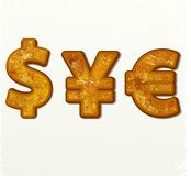Dollar, euro and yen currency  signs gold. On white background for app icon or website decoration Stock Photos