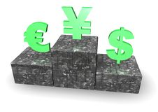 Dollar, Euro and Yen on Podium Royalty Free Stock Photography