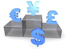Dollar, Euro and Yen on Podium Stock Photos