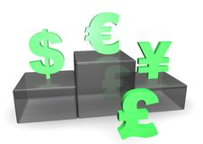 Dollar, Euro and Yen on Podium Stock Photo