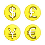 Dollar euro yen and pound coin vector pack. Illustration Stock Image