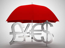 Dollar euro yen pound money symbol under umbrella Stock Photos