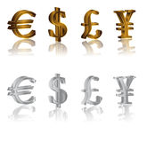 Dollar, euro, yen and pound signs Stock Photography