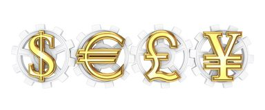 Dollar, euro, yen and pound sterling signs. Royalty Free Stock Images