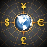 Dollar, Euro, Yen and Pound symbols around the globe Stock Photos