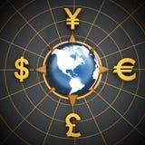 Dollar, Euro, Yen and Pound symbols around the globe Stock Photos